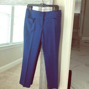 Cobalt blue short length ankle work pants